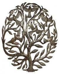 Tree of life  birds metal drum art wall hanging