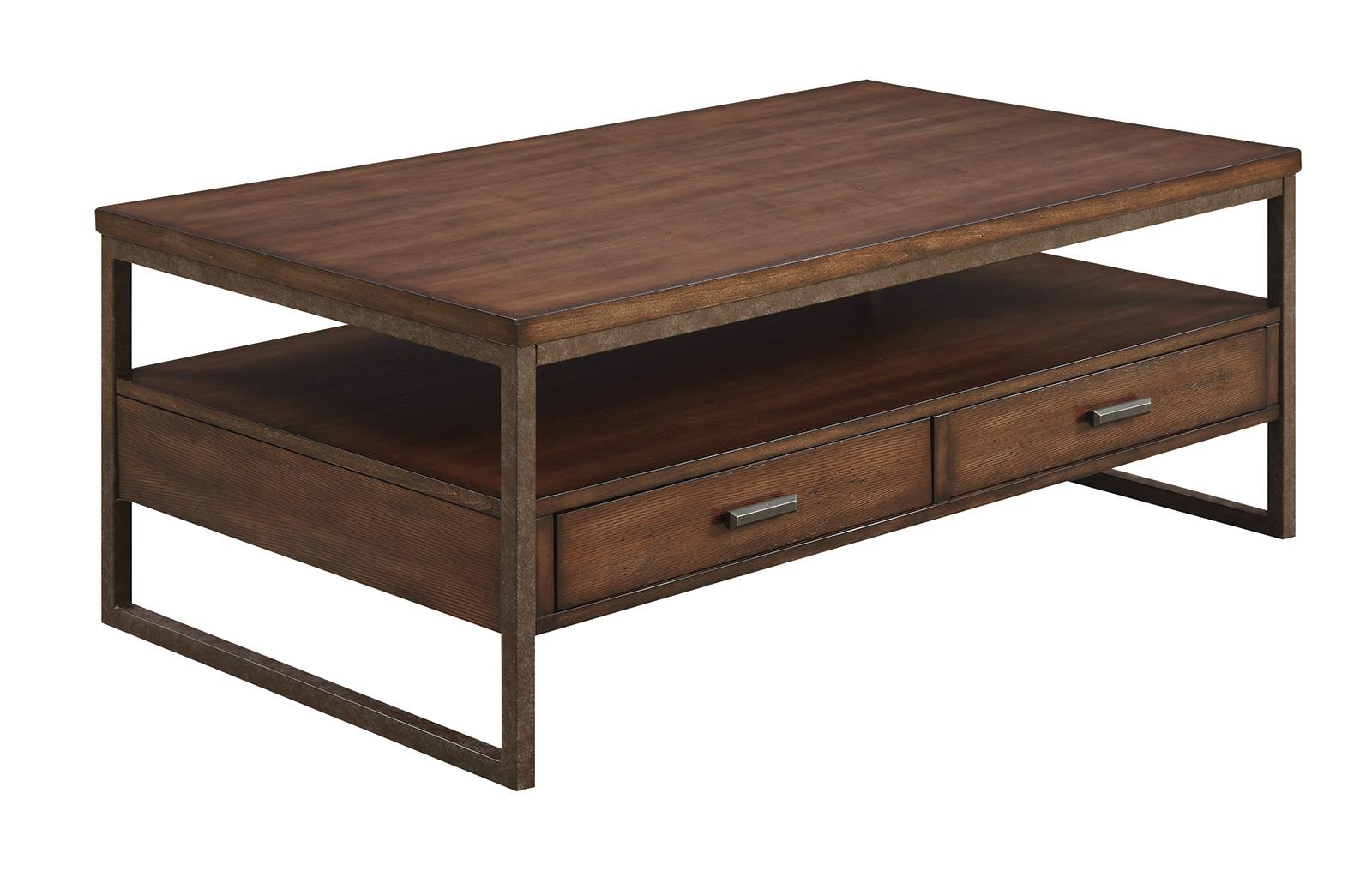 704308 industrial two drawer coffee table