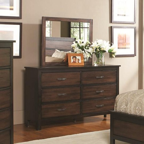 Conway 6 drawer dresser & framed mirror