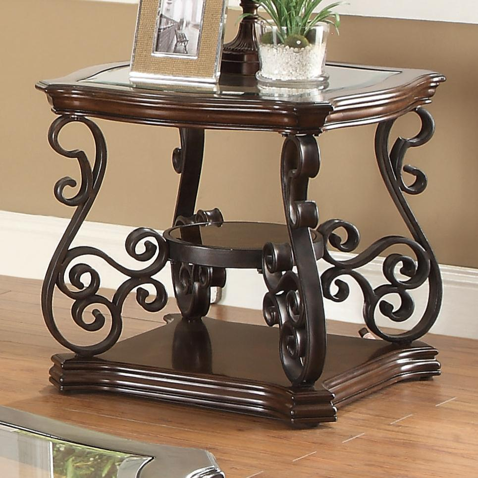 702447 end table with tempered glass top & ornate metal scrollwork