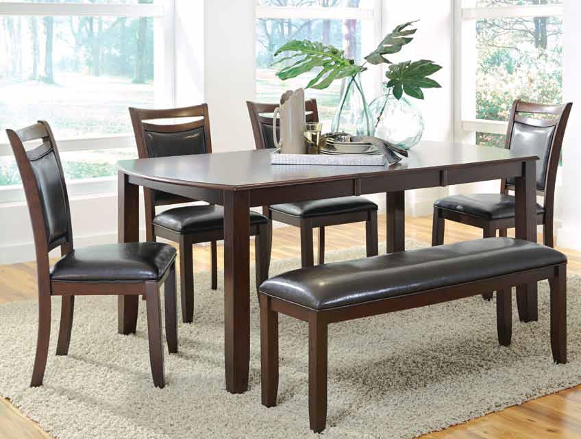 Dupree casual dining table & bench with 4 side chairs