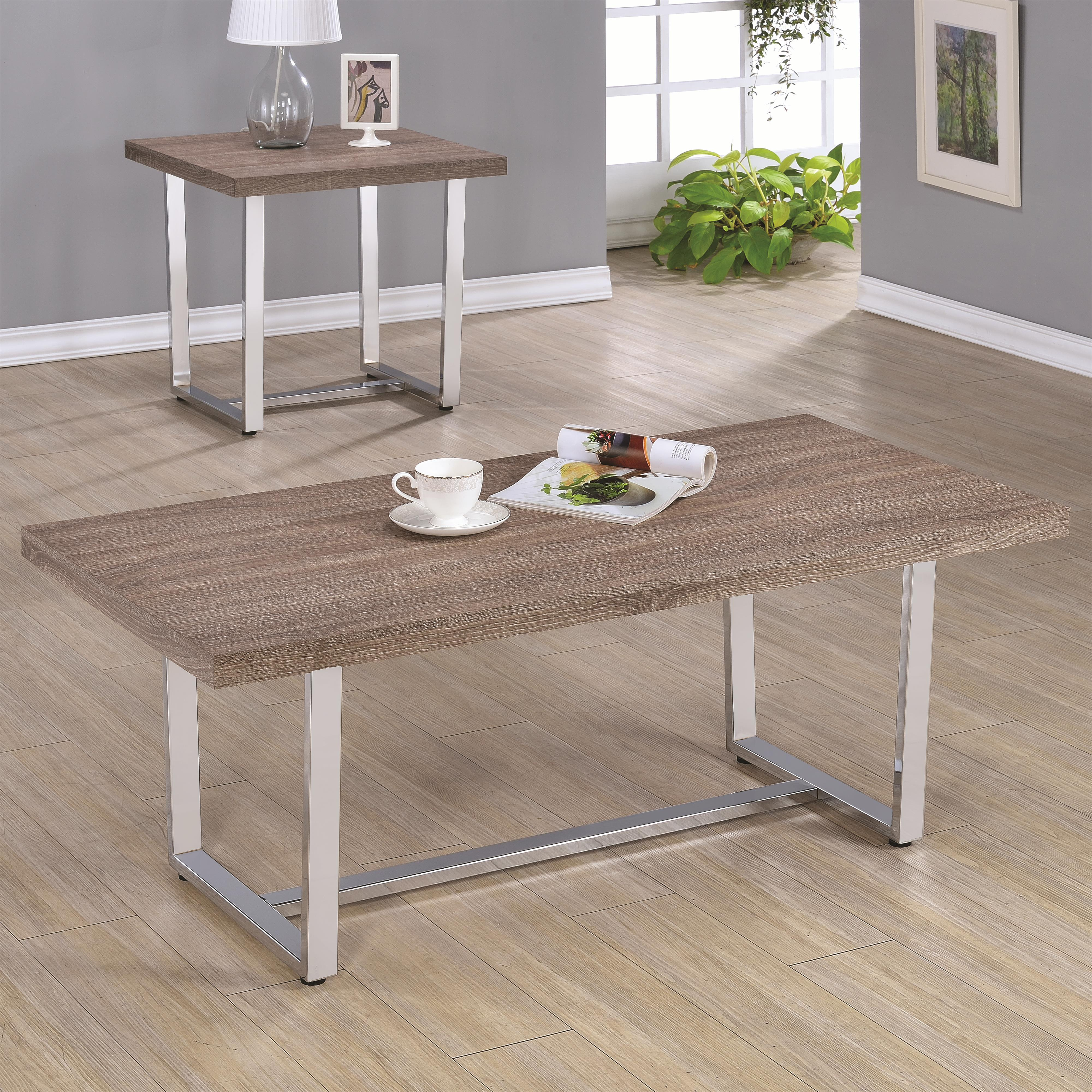 704188 rectangle coffee table with metal base and wood top