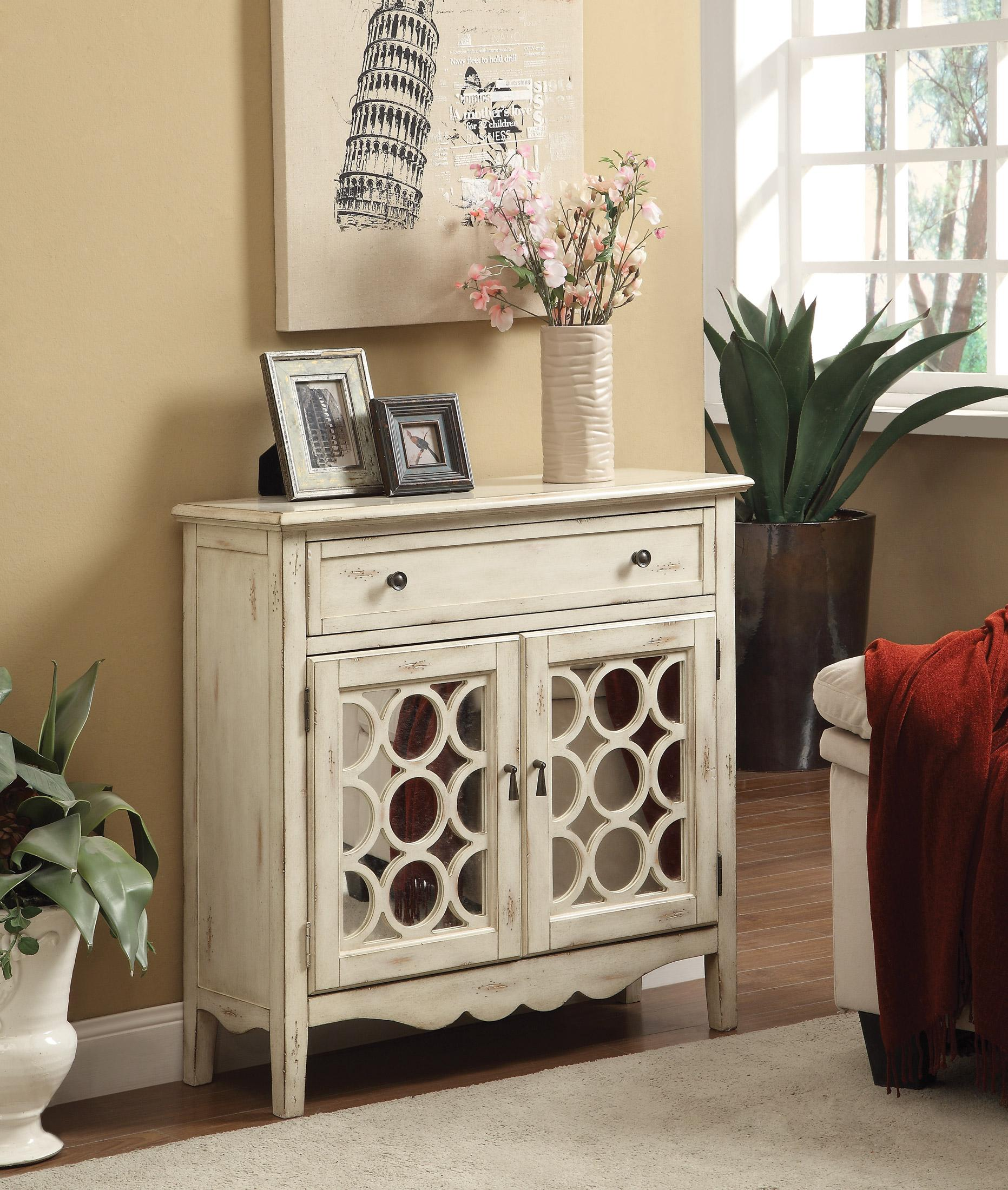 Accent cabinet with glass doors - Antiqued White Finish Accent Cabinet With Mirror Doors