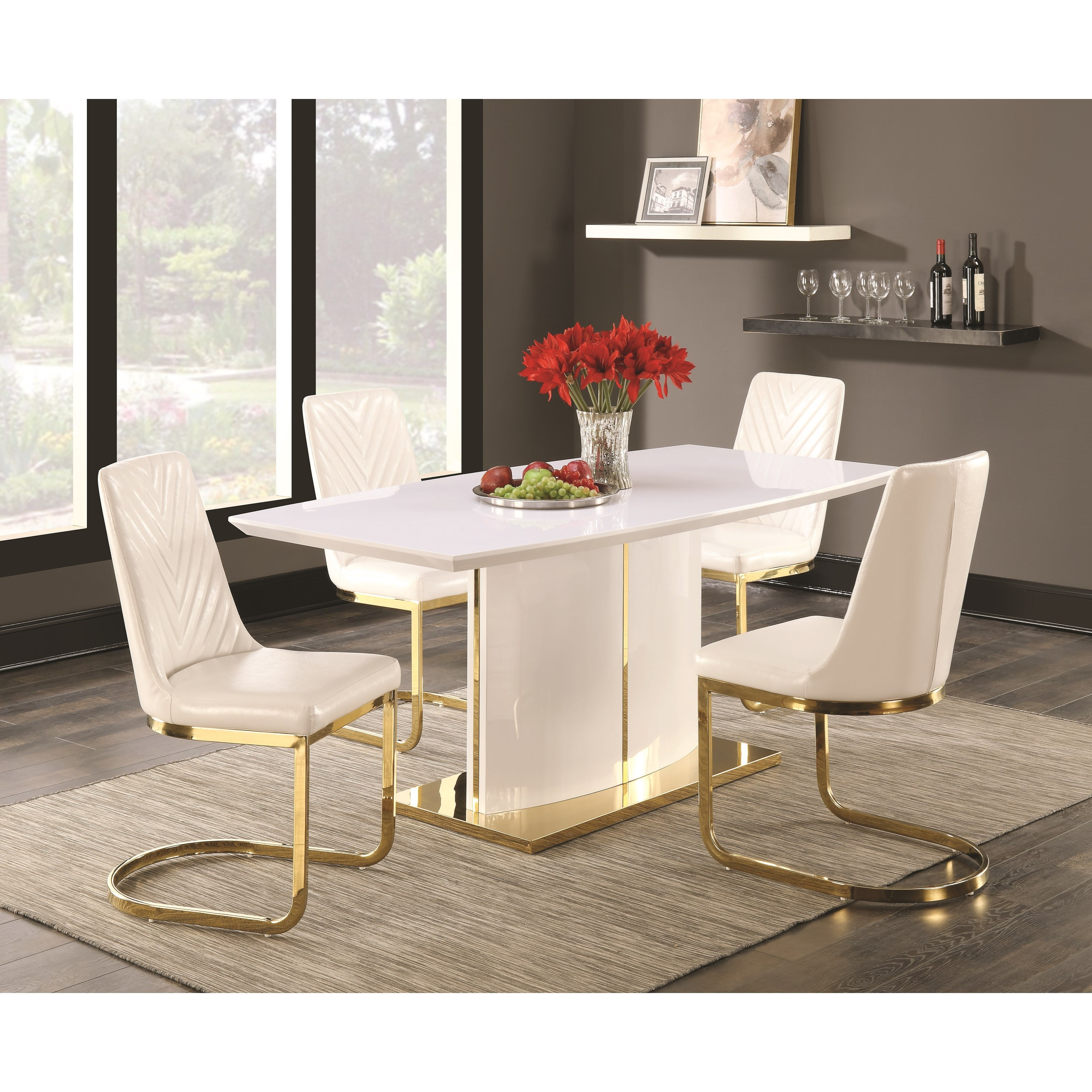 Cornelia contemporary 5 piece dining set with 24k gold detail