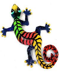 8 inch painted metal drum art gecko wall hanging