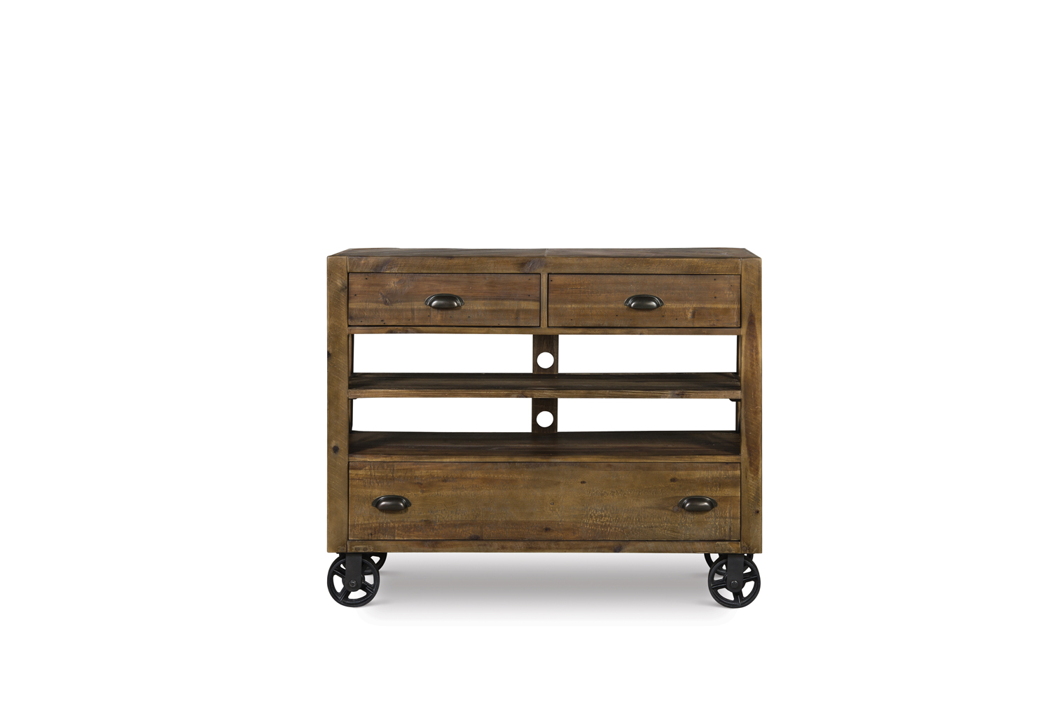 River ridge wood media chest with casters