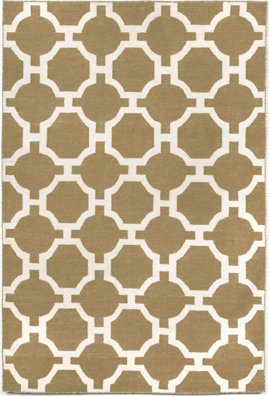 Hand woven assisi tile - khaki indoor outdoor area rug 5 ft x 7 ft 6in