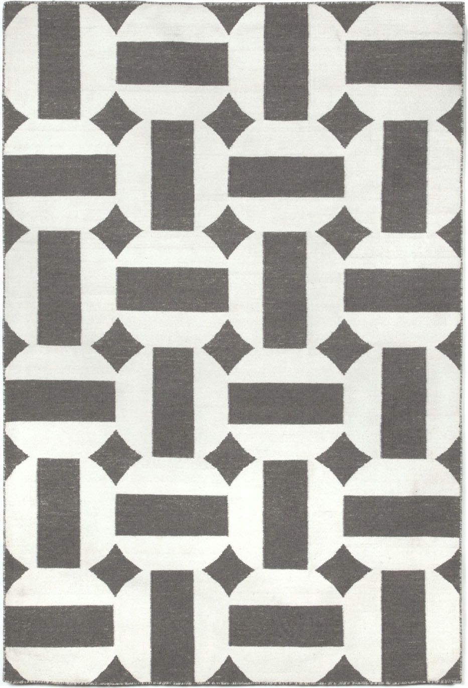 Hand woven assisi circles gray indoor outdoor area rug 5 ft x 7 ft 6in