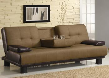 Two tone convertible sofa bed with drop down console