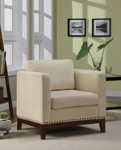 Chair with track arms & nail head trim