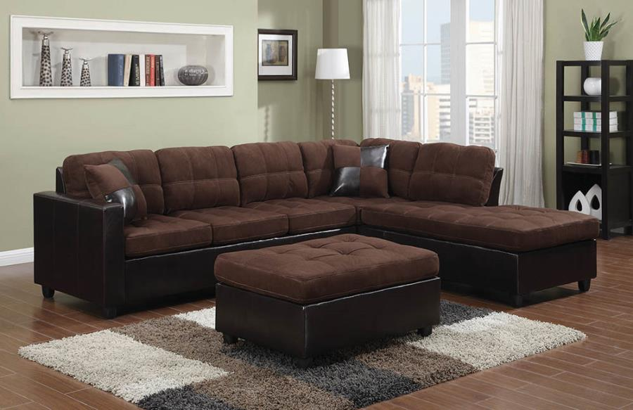 Mallory upholstered sectional chocolate and dark brown