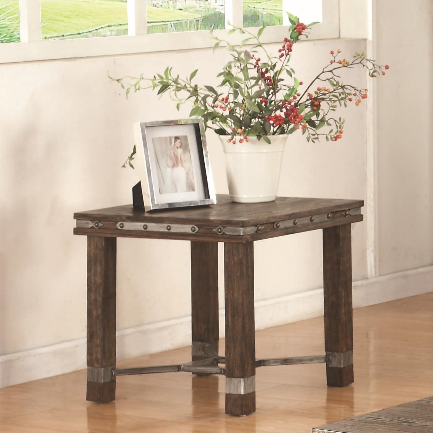 703547 rustic end table