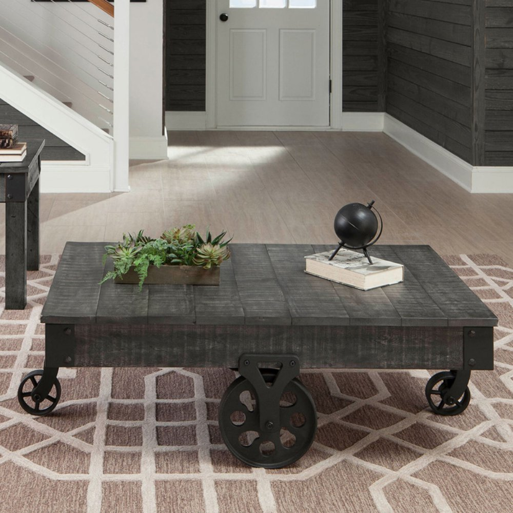 720578 coaster furniture wood coffee table with metal casters - gray