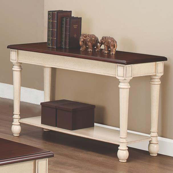 704419 two-toned transitional sofa table