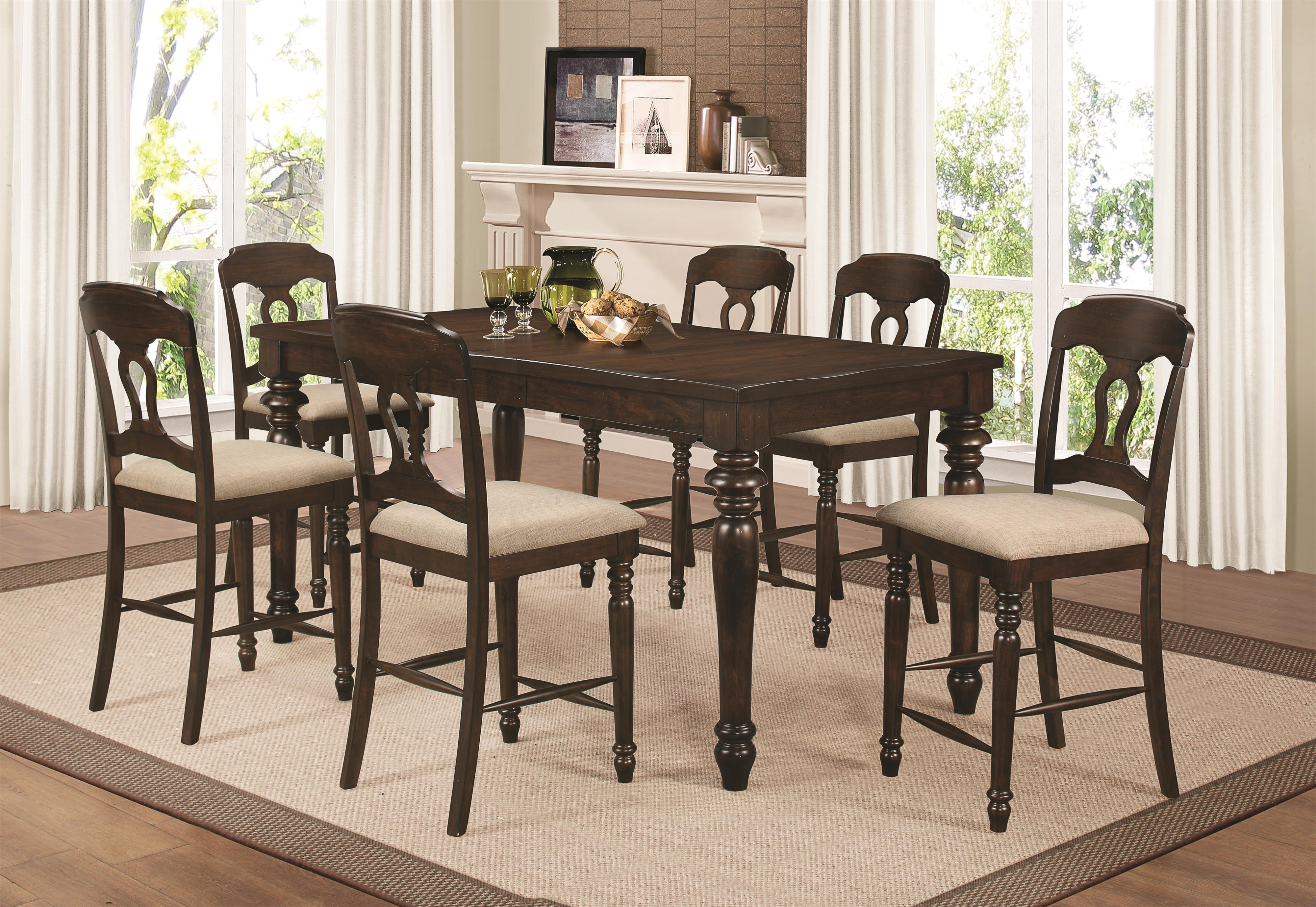 hamilton 7 piece counter height dining set with splat back side chairs