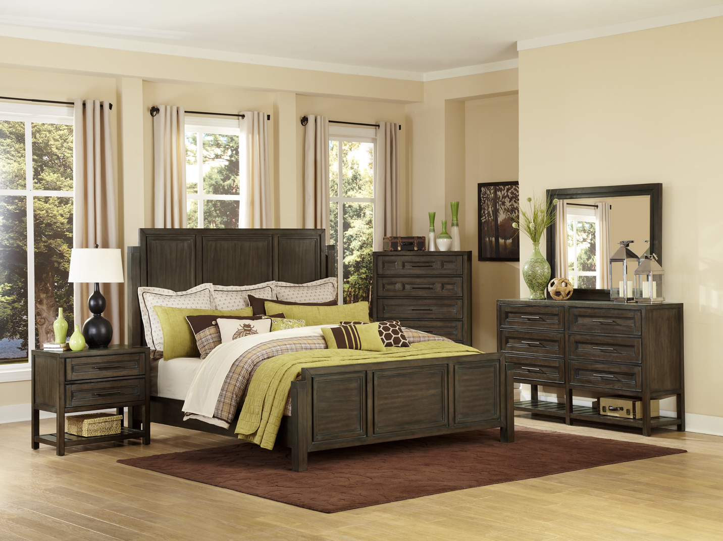 Eastlake bed room set (queen bed, night stand, dresser & mirror)
