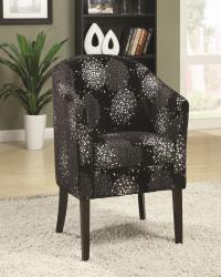 Accent seating casual barrel back accent chair in black and silver chenille
