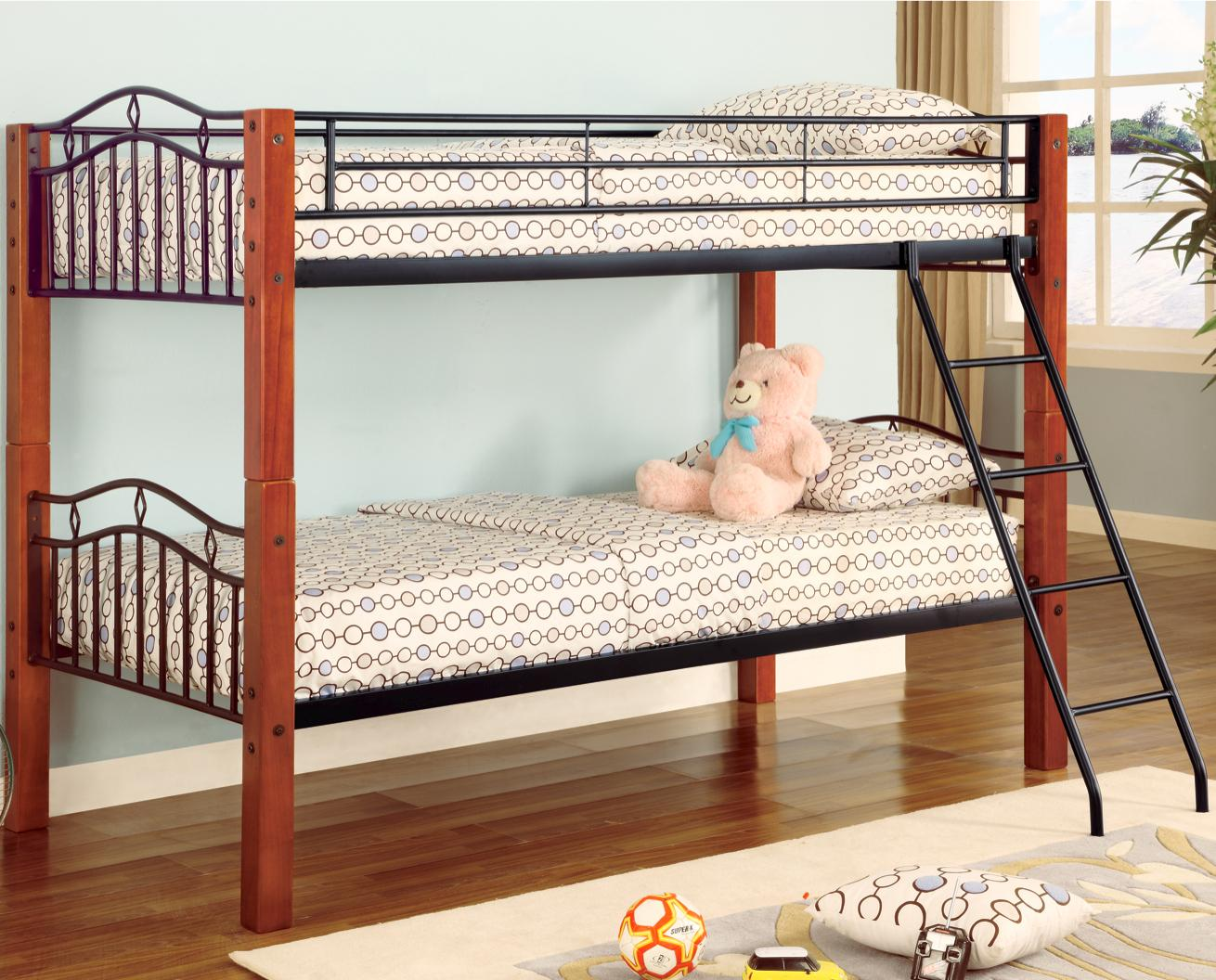 Haskell metal and wood casual twin over twin bunk bed