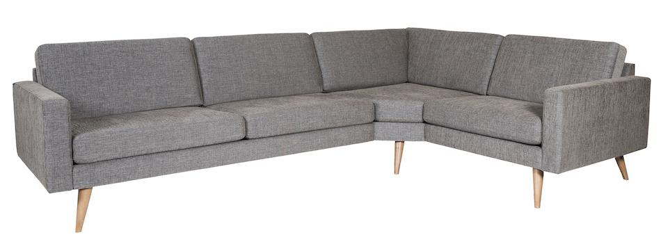 Fjords sectional 3 seater + 1.5 seater big corner dark grey