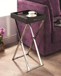 Tray tables contemporary black tray table with chrome base
