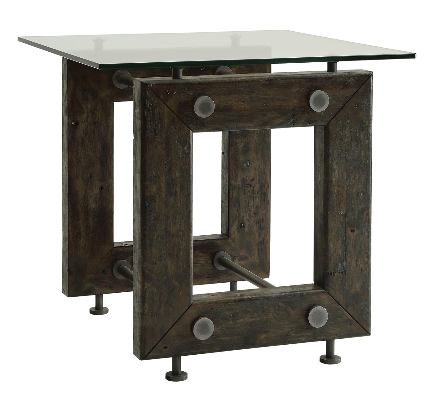 704277 industrial end table with tempered glass top