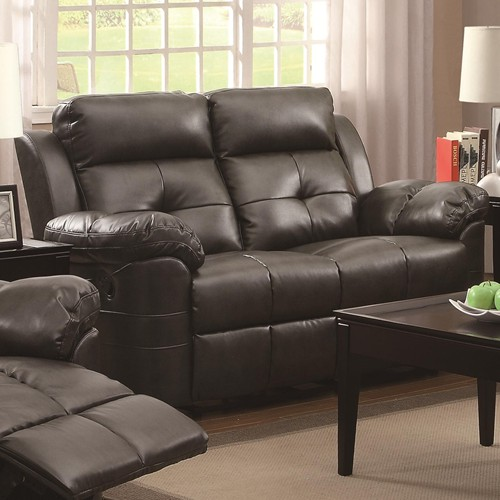 Keating reclining motion love seat with contemporay style