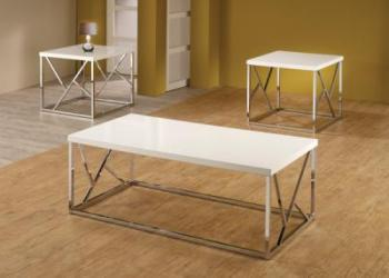 3 pc white glossy table set