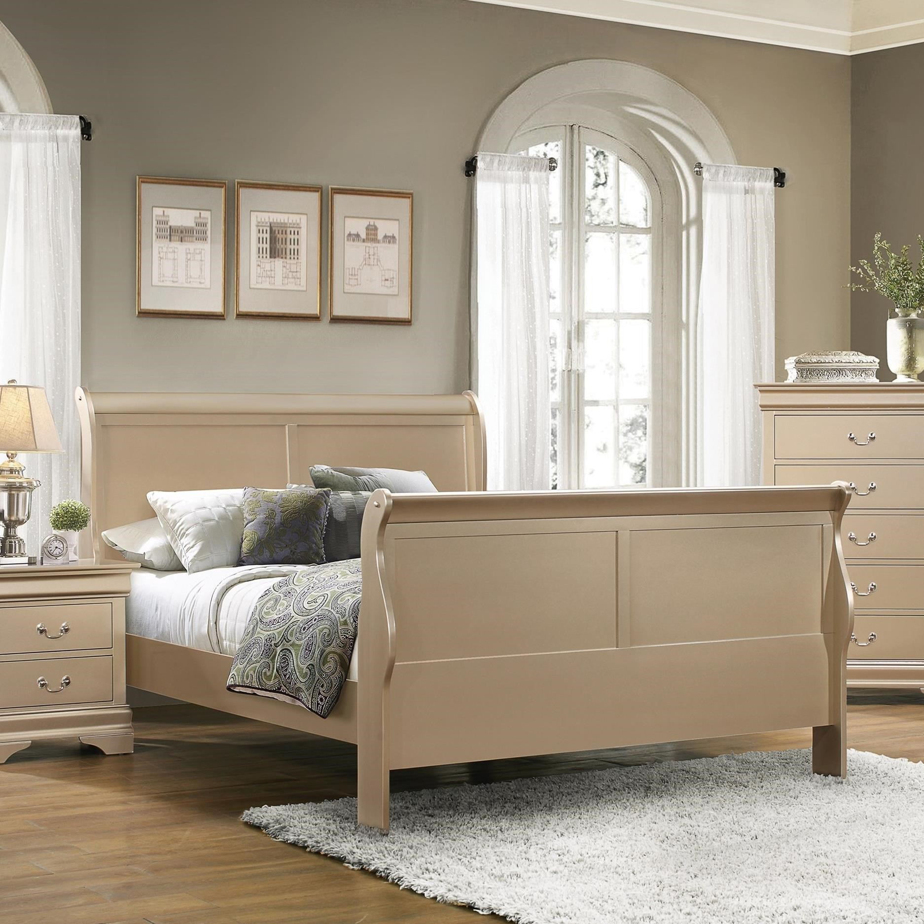 5 pc queen set, louis philippe (bed, dresser, chest, nightstand, mirror)