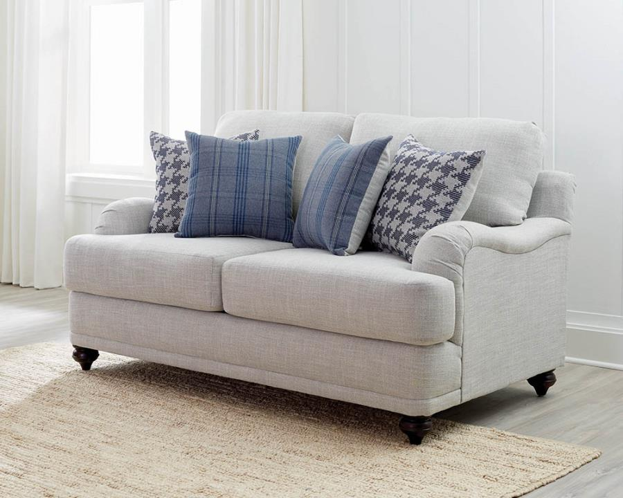 Gwen loveseat recessed arms light grey