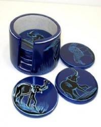 Coasters and holder soapstone -blue