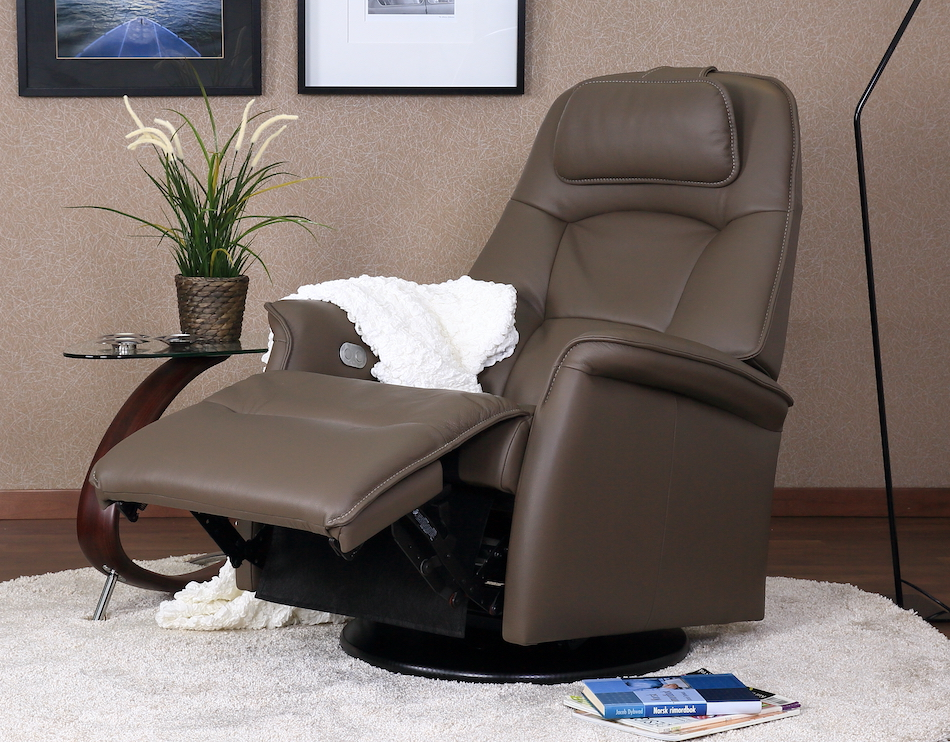 Fjords stockholm power swing relaxer / recliner al 535 dark brown small