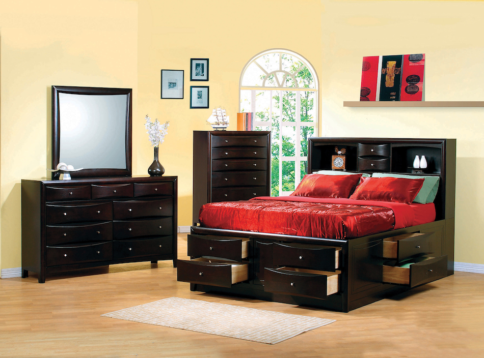 4 pcs phoenix queen bookcase bed with underbed storage drawers set