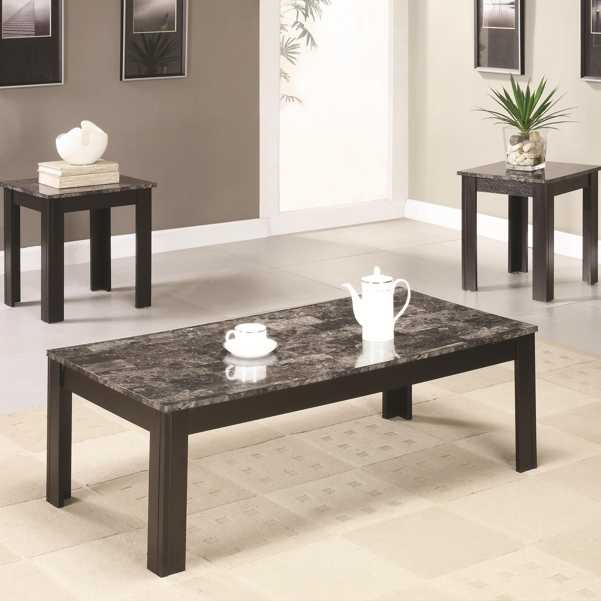 700375 occasional table sets coffee and end table set w/ marble-looking top