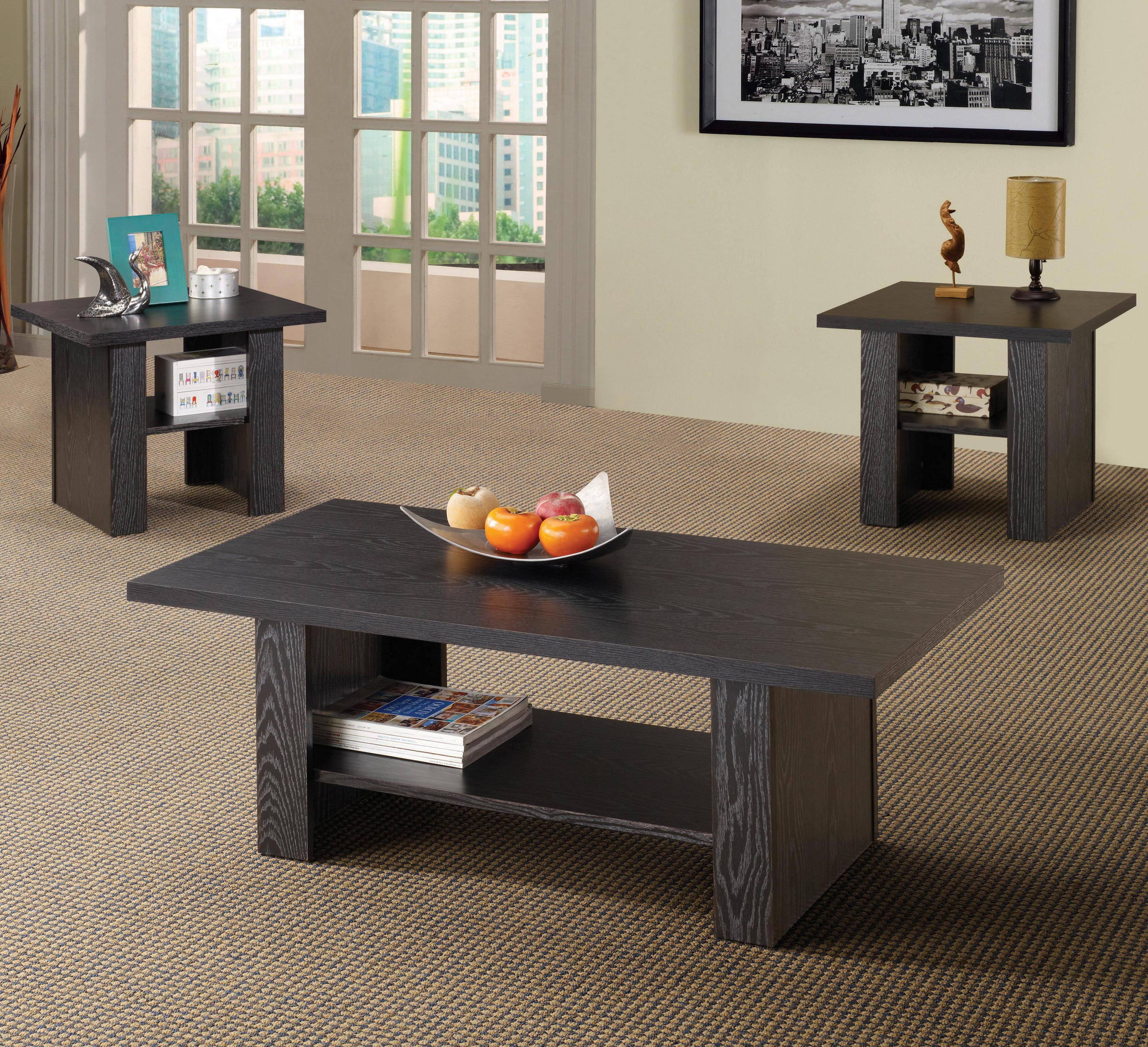 3 piece occasional table set with parquet top
