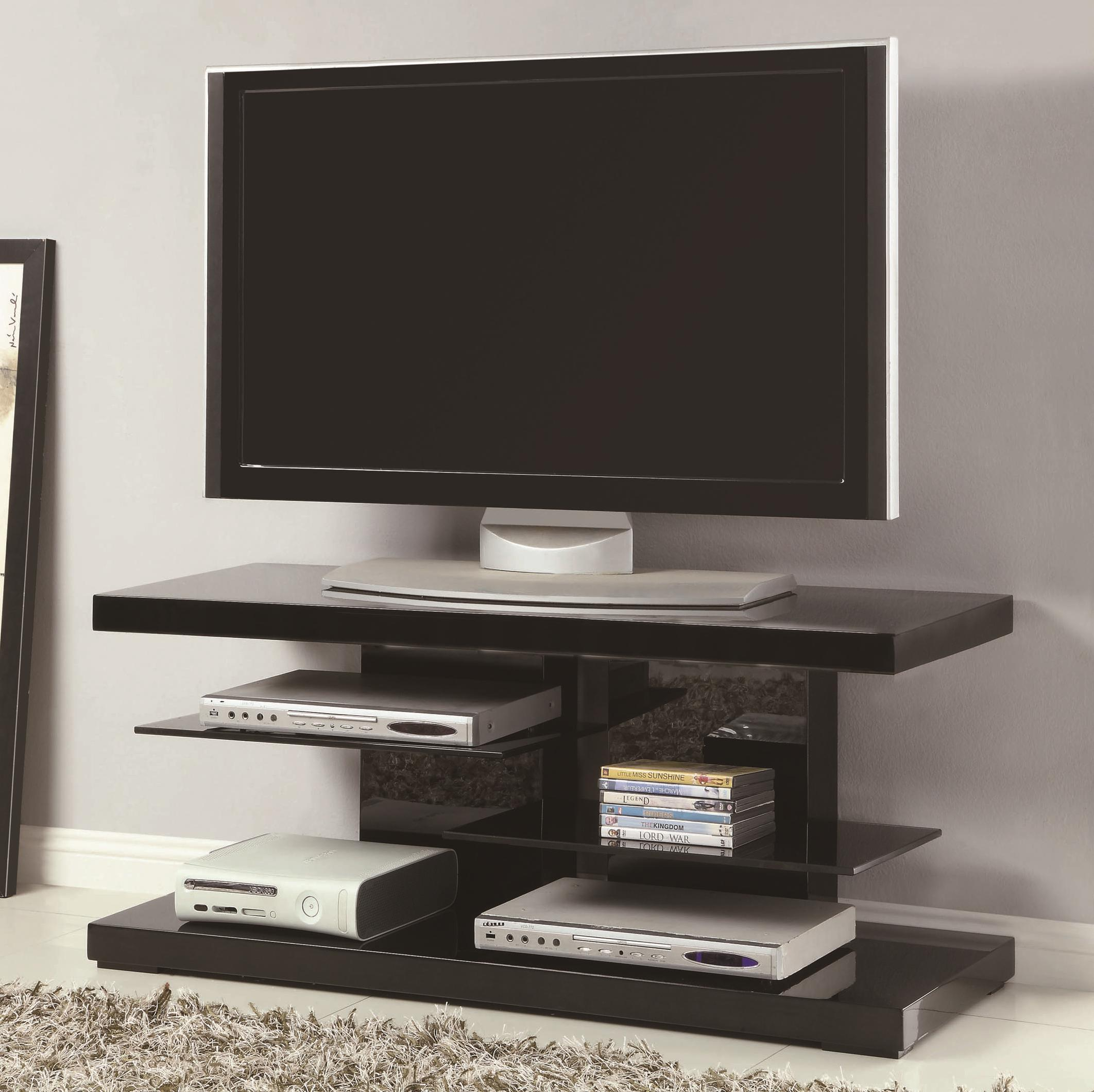 Tv stands modern tv stand with alternating glass shelves, black